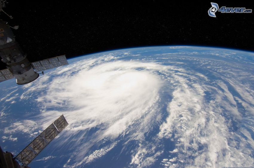 hurricane, Earth from ISS, satellite