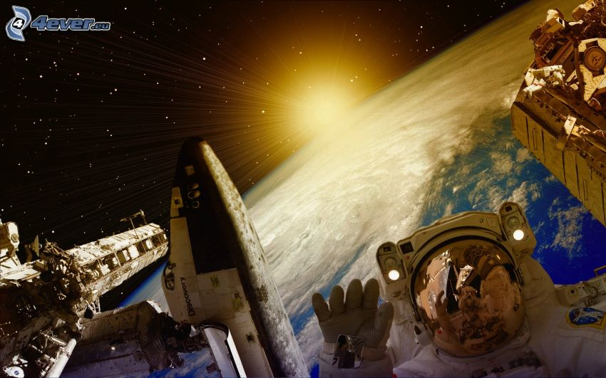 International Space Station ISS, astronaut, Space Shuttle Discovery, sun, planet Earth, digital art