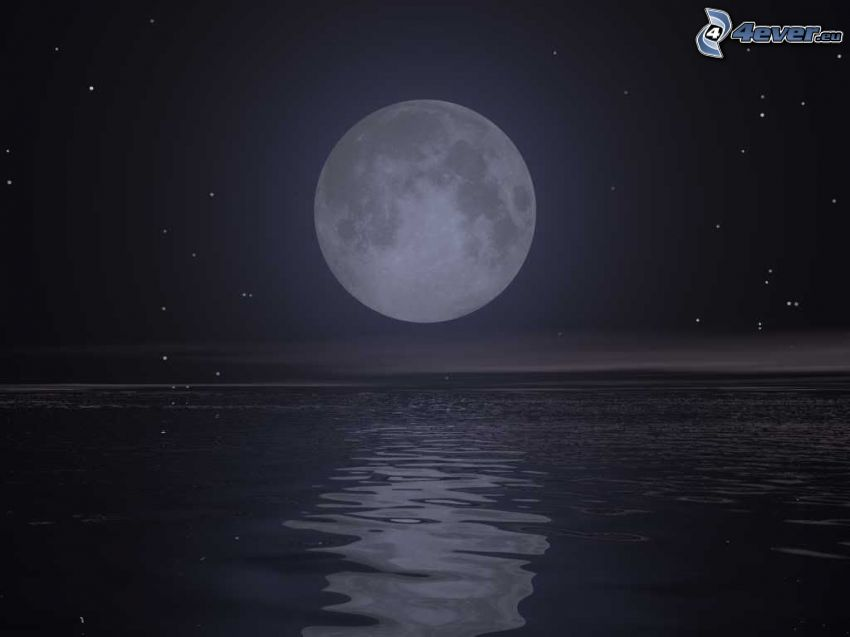 moon above the water level, sea, stars