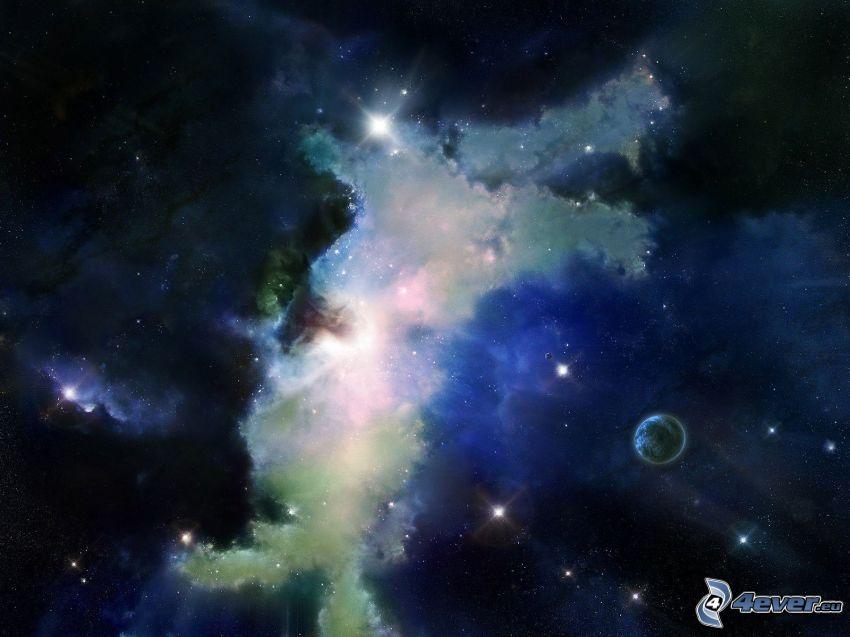 nebula, planets, stars