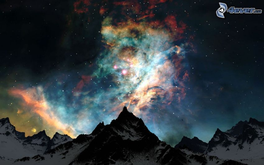 night sky, nebulae, mountain, stars
