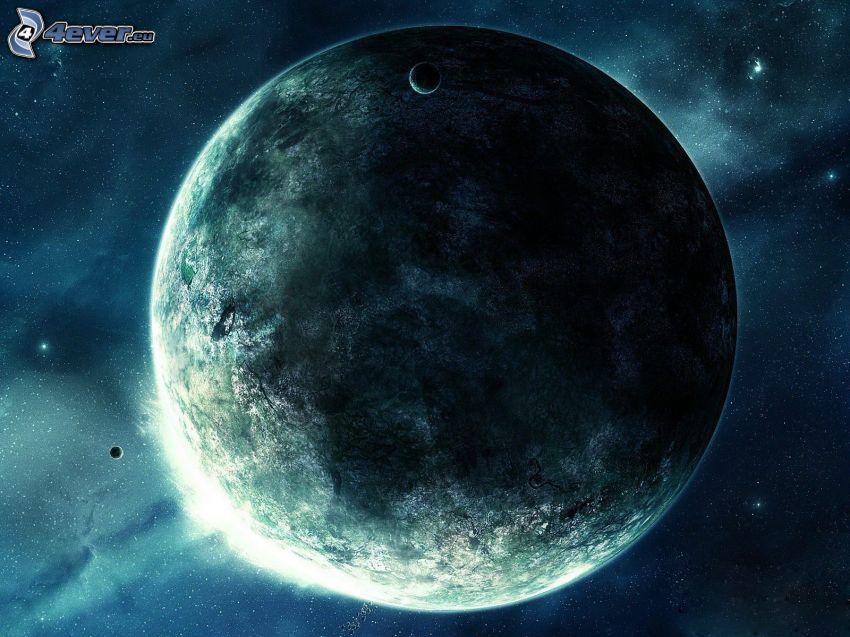 planet, starry sky