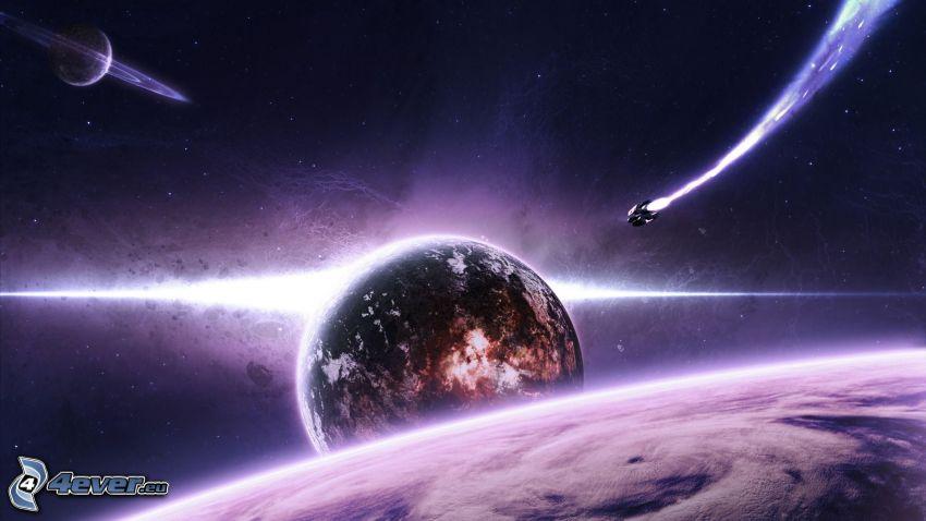planet Earth, Saturn, spaceship