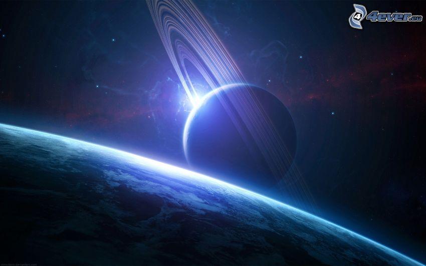 Saturn, Earth, digital art