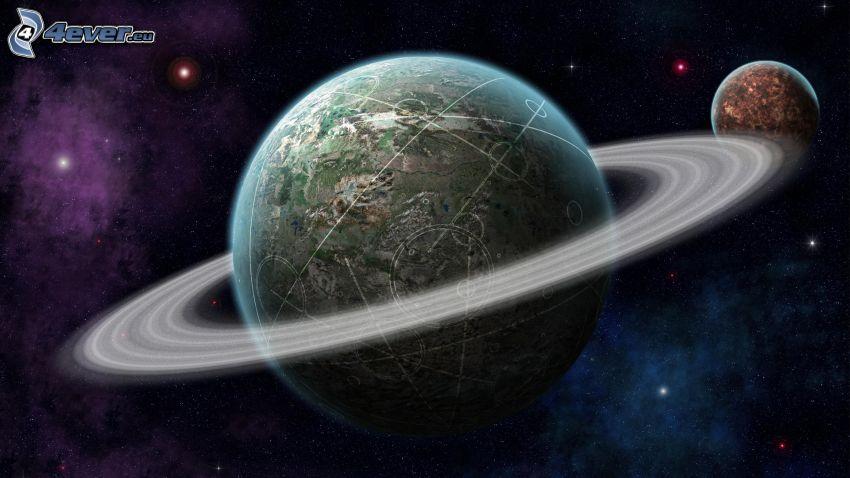 Saturn, planet, sci-fi
