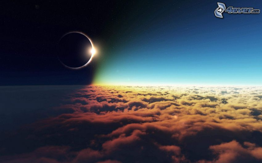 solar eclipse, over the clouds