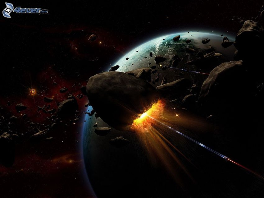 Space collision, asteroids, planet Earth