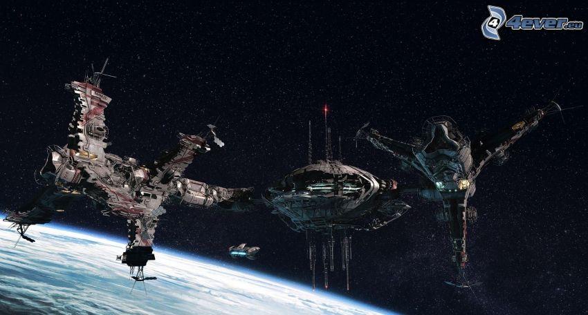 spaceship, sci-fi, stars
