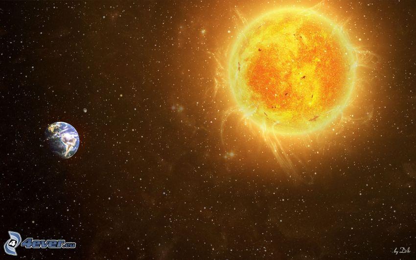 sun, Earth, stars