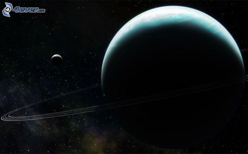 Uranus, moon, stars