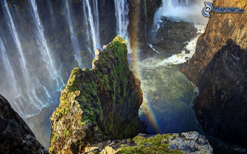Victoria Falls, rocks, rainbow