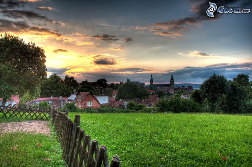 village, palings, sunrise, HDR