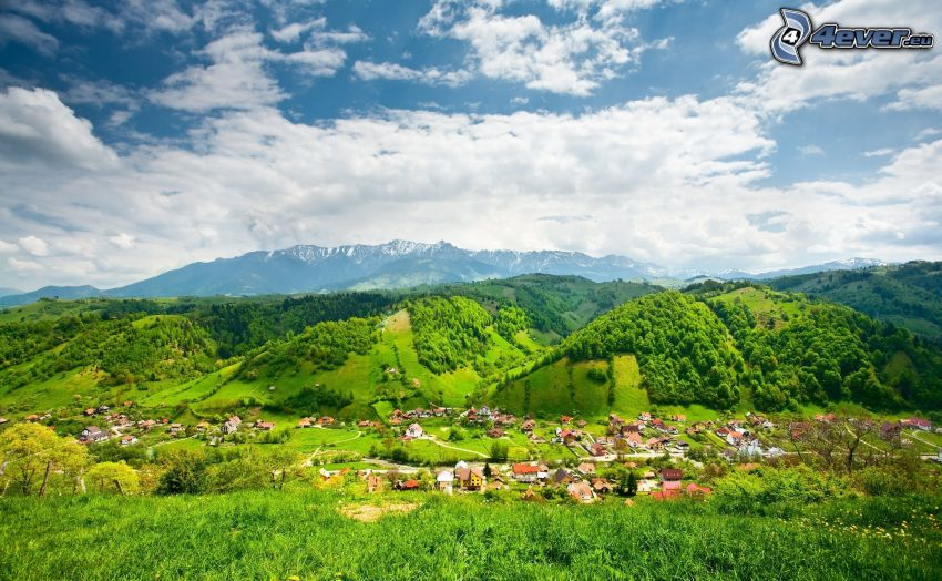 village in the valley, mountains, clouds
