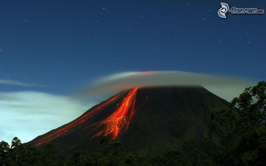 volcano, evening