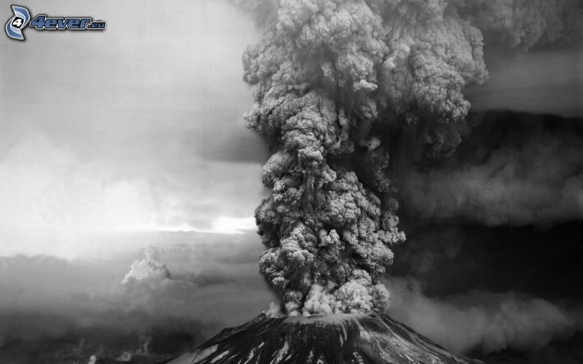 volcano eruption, volcanic cloud, black and white photo