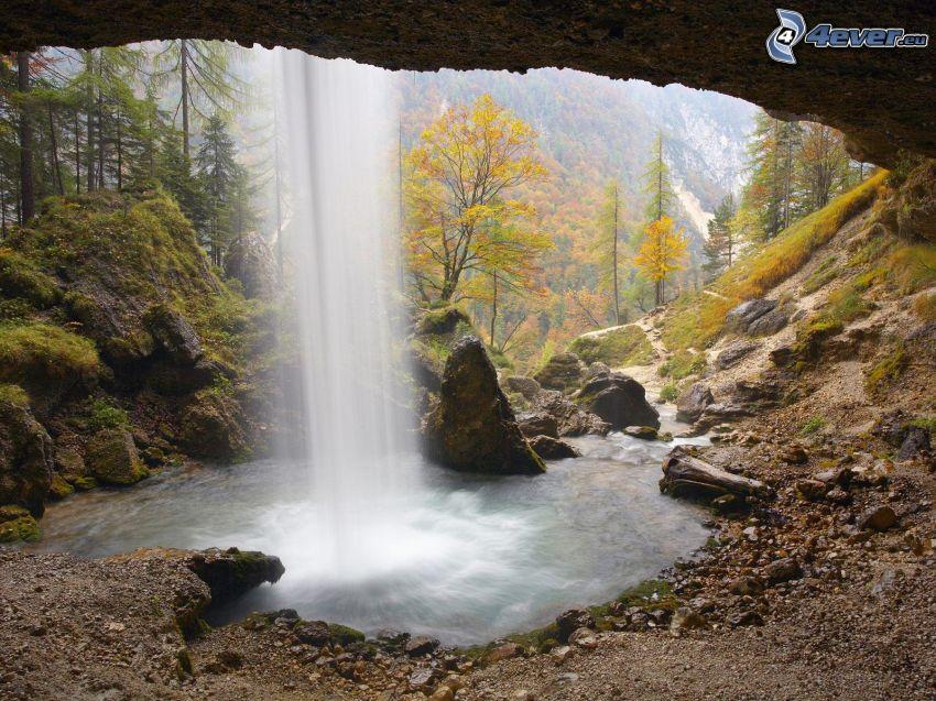 waterfall, autumn forest, rocks