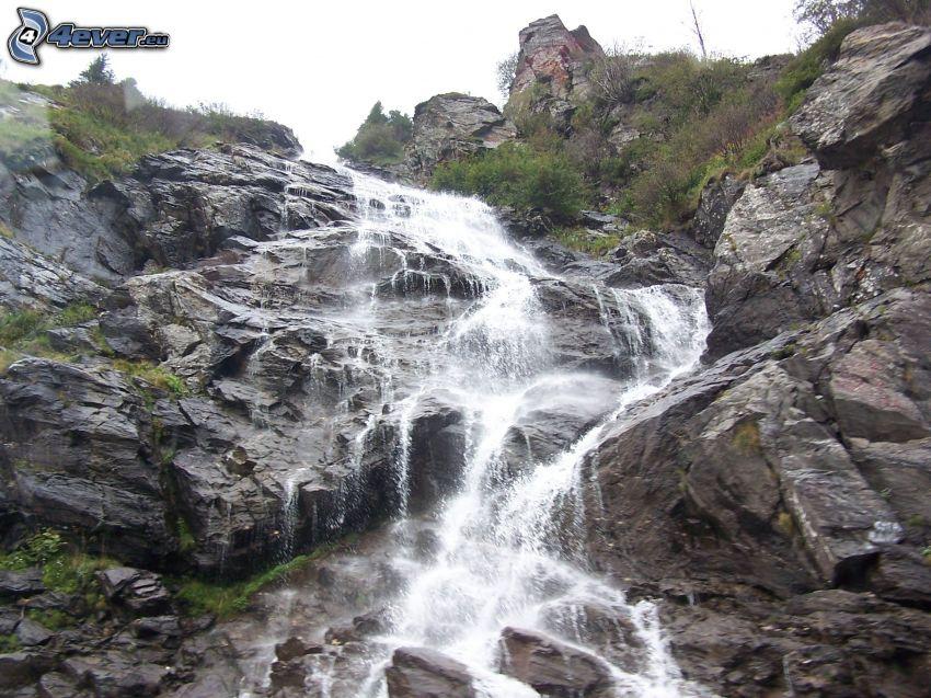 waterfall, River, rocks