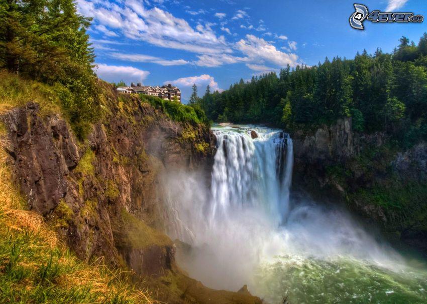 waterfall, rocks, coniferous forest