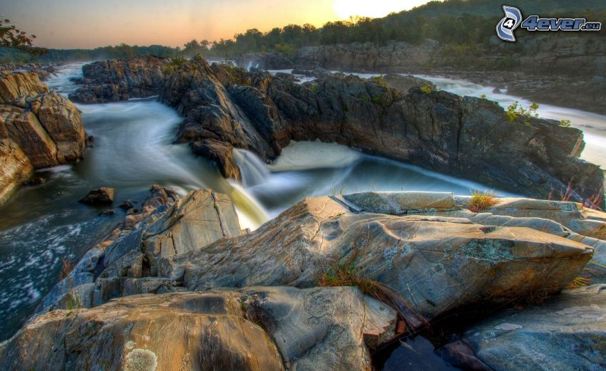 waterfall, rocks, HDR
