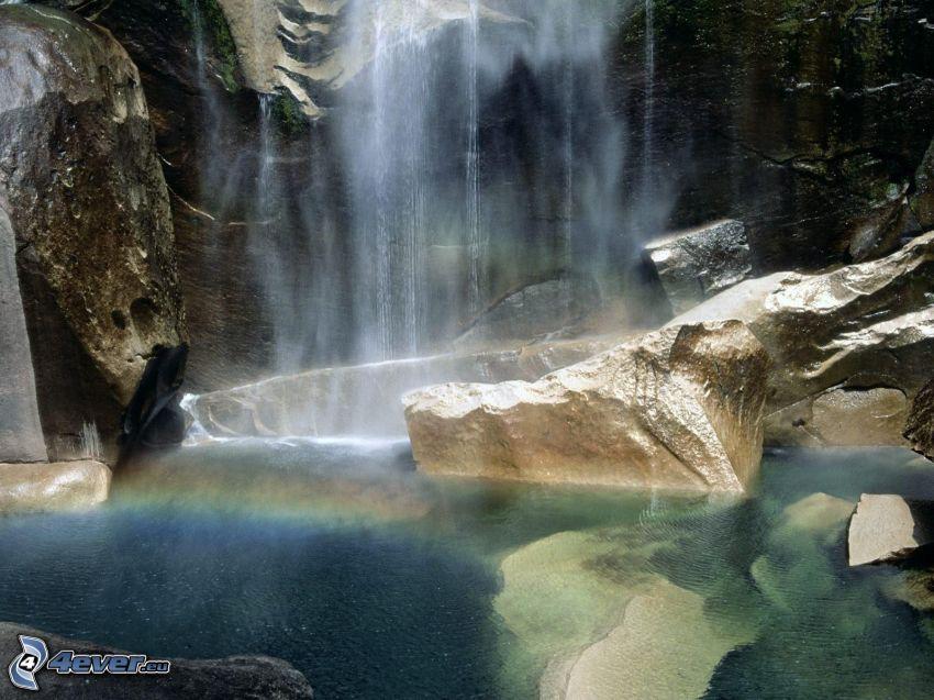 waterfall, Yosemite National Park, rainbow