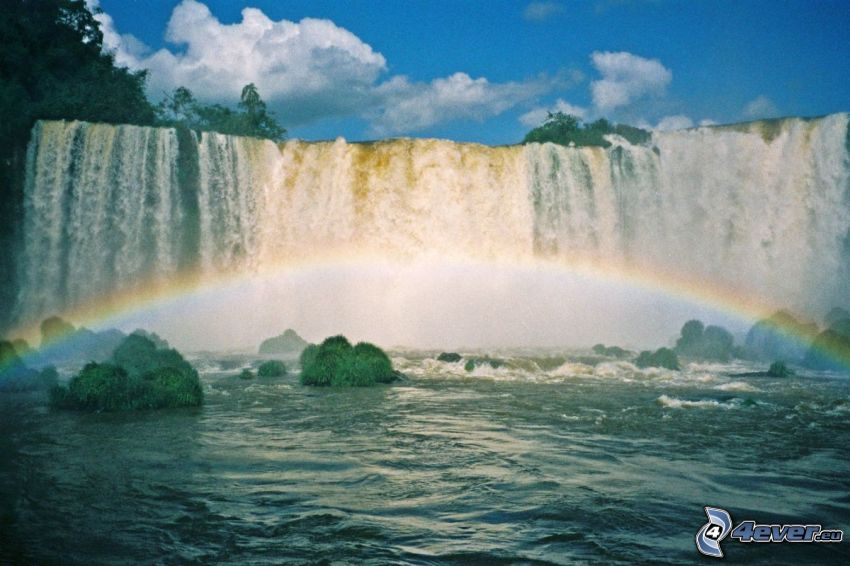 waterfalls, rainbow
