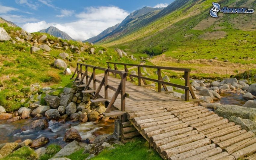 wooden bridge, mountains, valley, stream
