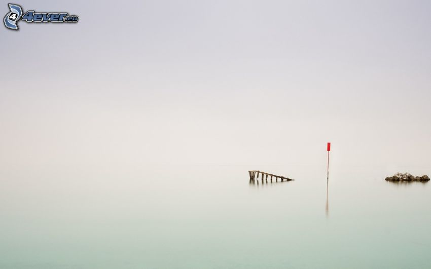 wooden pier, flood
