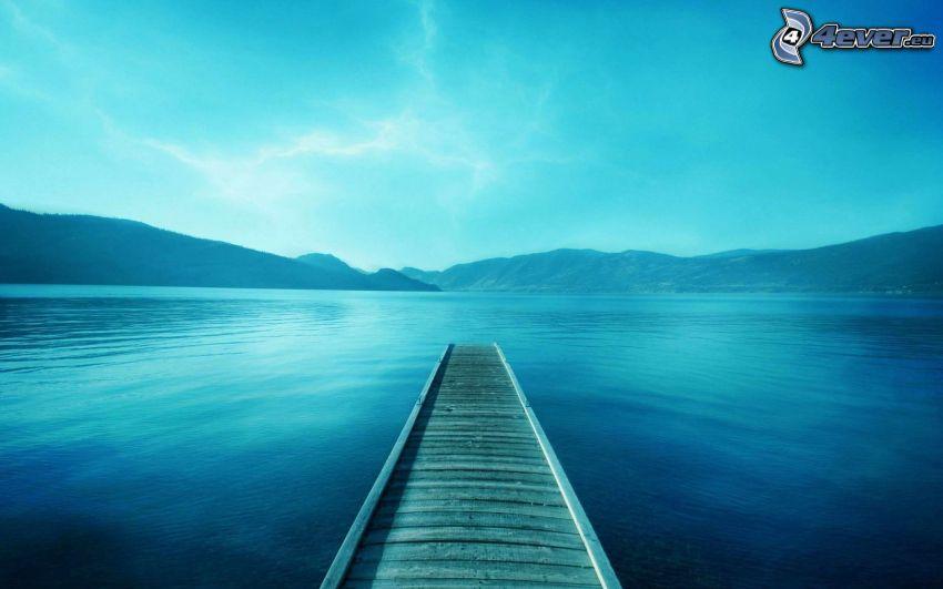 wooden pier, lake