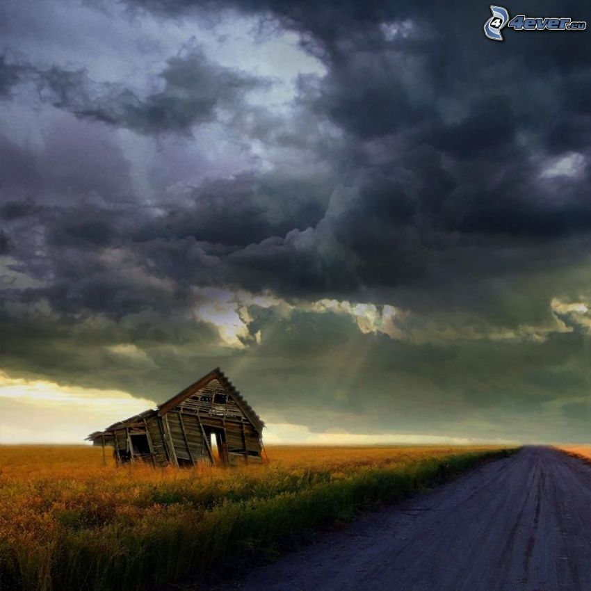 abandoned house, road, clouds