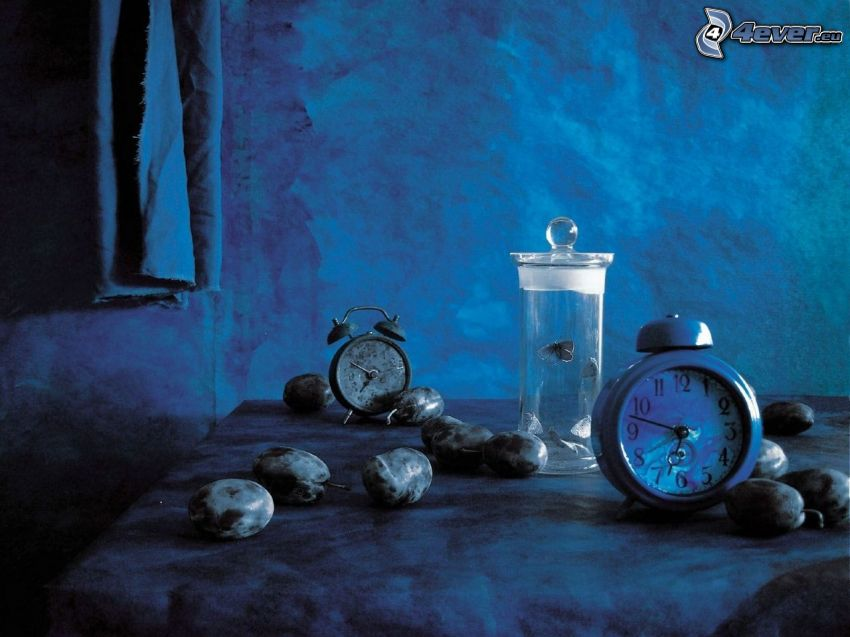 alarm clock, plums
