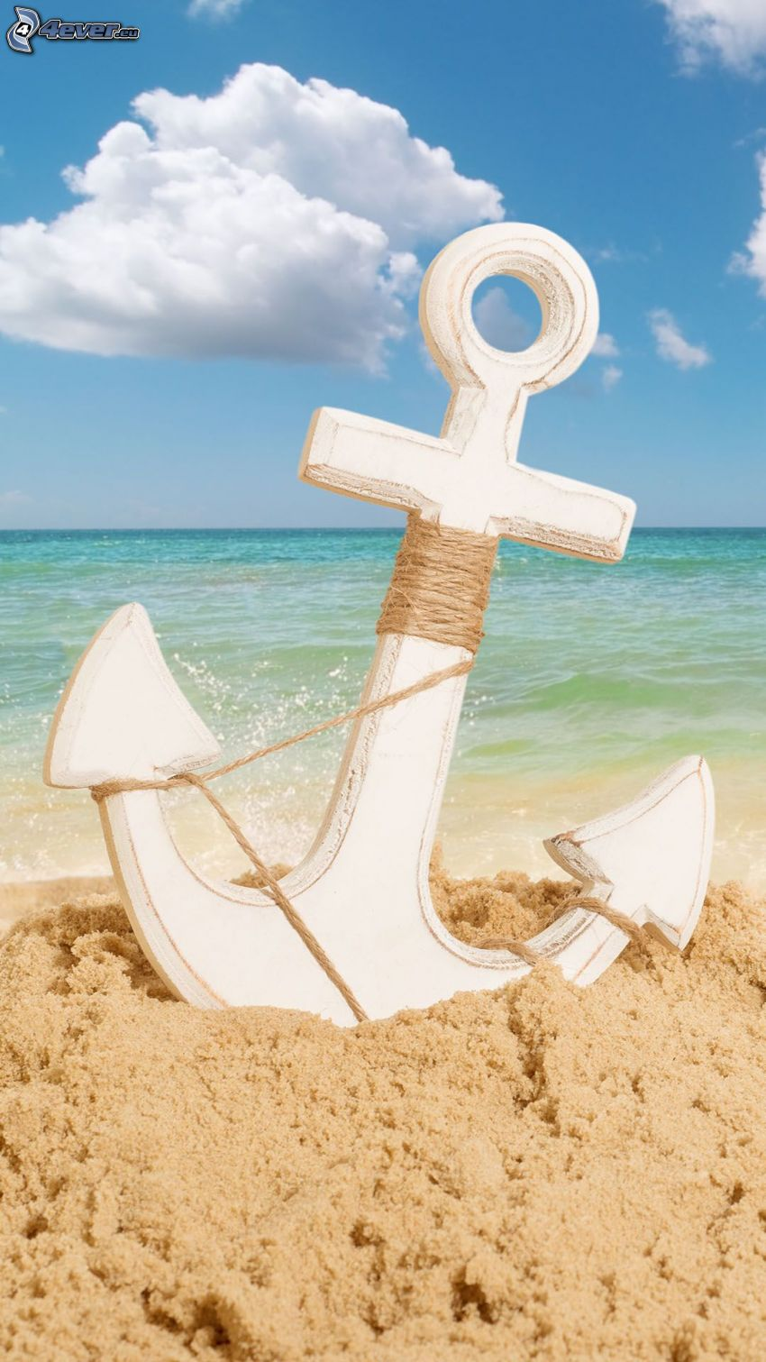 anchor, sand, open sea, clouds