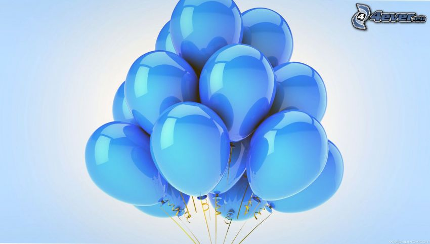 balloons, blue background