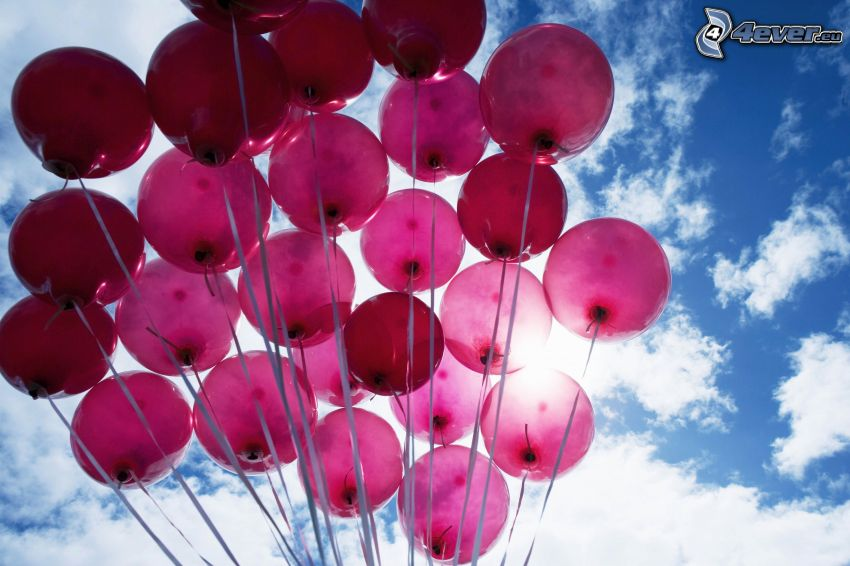 balloons, clouds