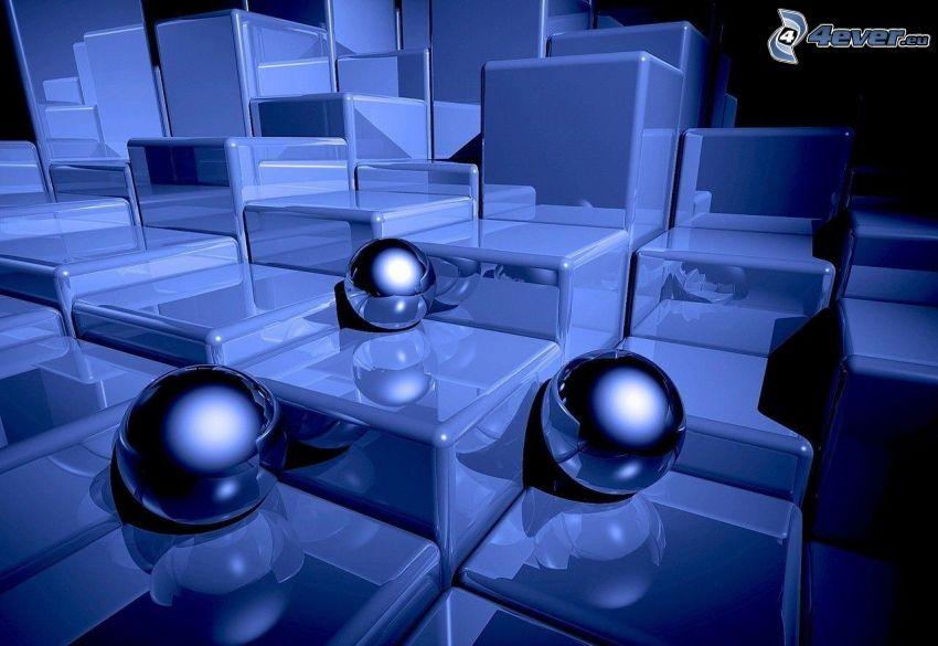 balls, cubes