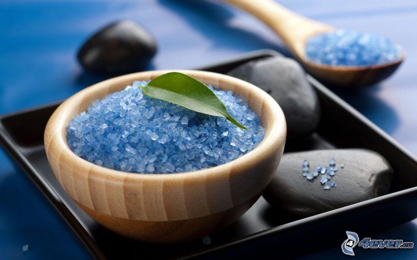 bath salts, bowl, rocks