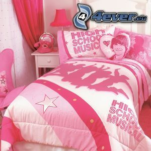 bed, pink