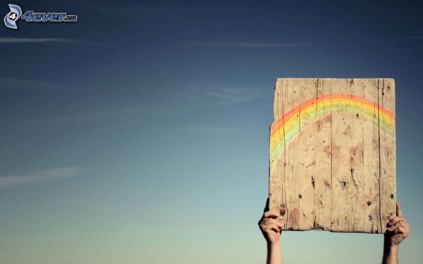 board, rainbow, hands
