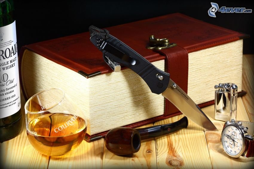 book, drink, pipe, knife, watch
