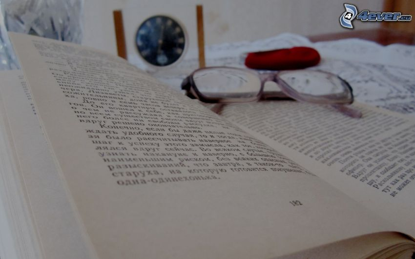 book, glasses
