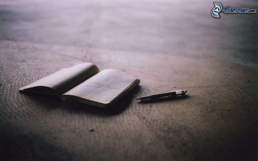 book, pen
