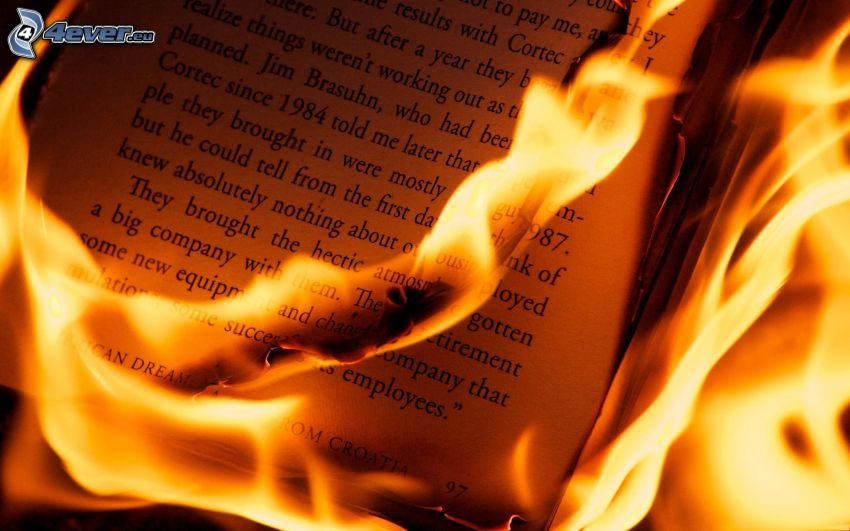 book on fire, fire