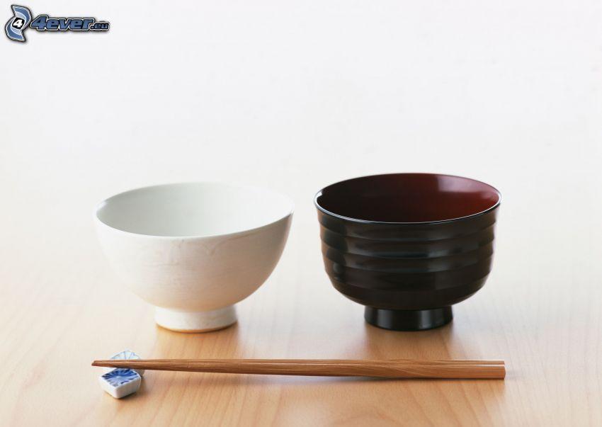 bowl, sticks