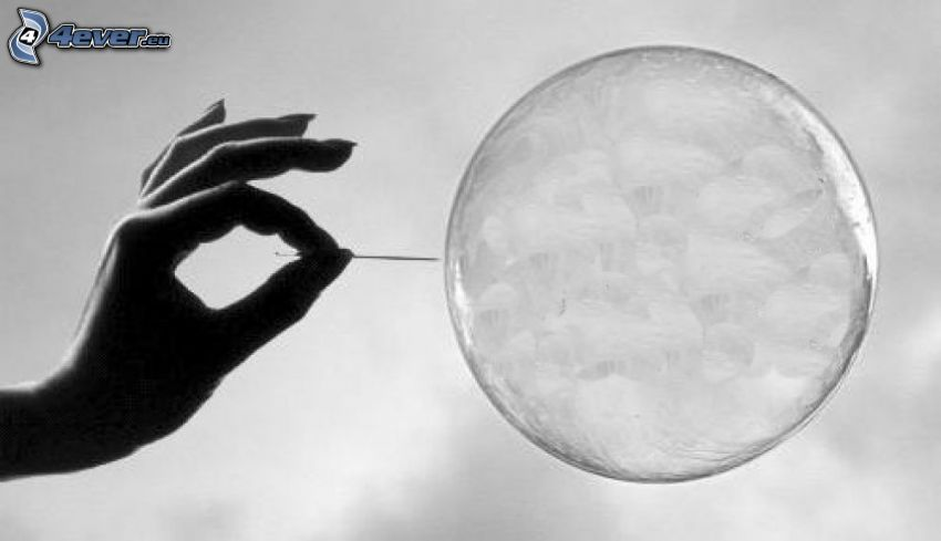bursting bubble, needle, hand