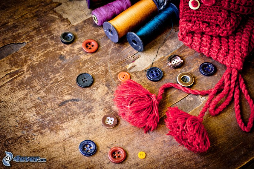 buttons, threads, hat