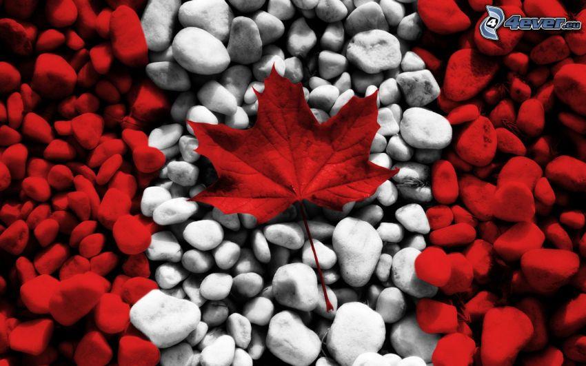 canadian flag, rocks