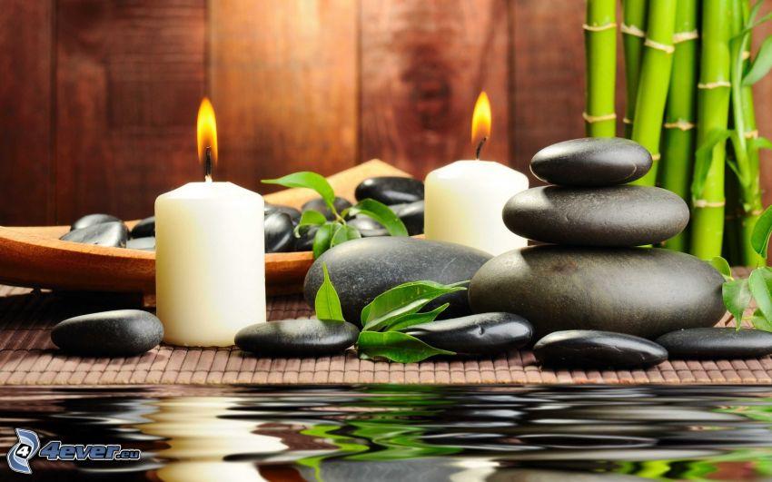 candles, rocks, water surface, bamboo