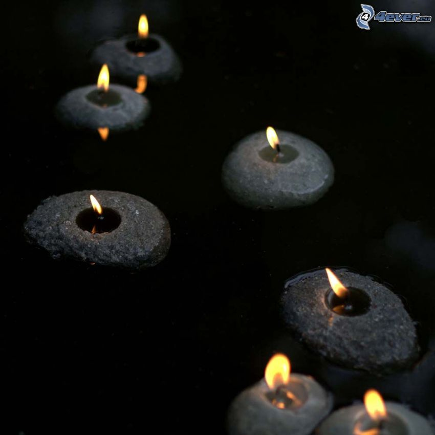 candles, water