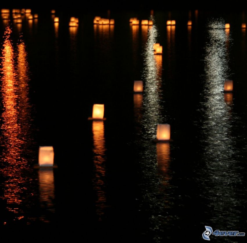 candles on the water