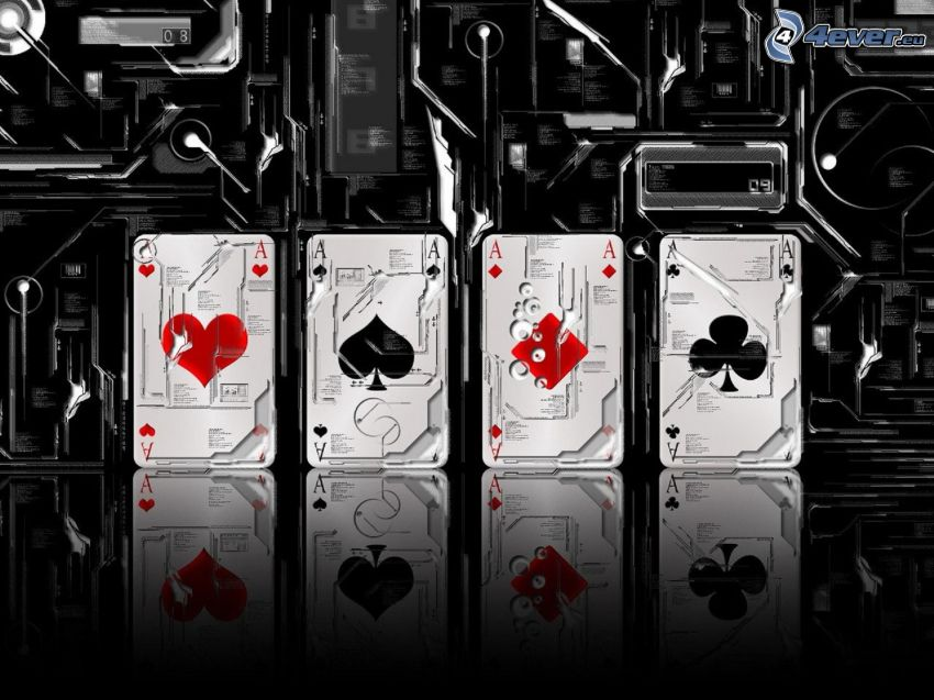 cards, aces, machinery, poker