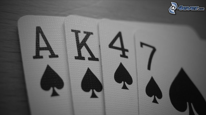 cards, AK-47, black and white